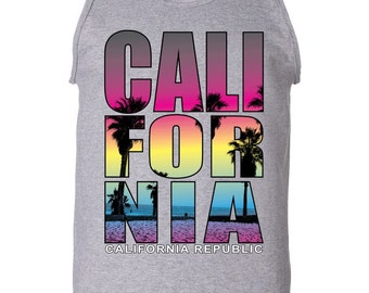 California Republic men tank top- California Sun Men Tank Top- Cali tank top for Men~ California Love Tank