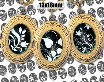 Digital Collage Sheet BLACK WHITE FLORAL 13x18mm Printable Oval Download for pendants magnets Cabochons jewelry