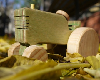 Wooden toy, Tractor Toy, Farm Toy, Wooden Farm Toy, Eco-Frienly, Waldorf, Montessory Toy, John Deere Toy