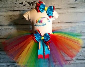 Handmade Birthday Rainbow Tutu Outfit