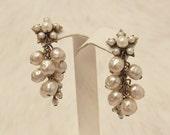Vintage Bridal ivory baroque pearl stud cluster earrings Miriam Haskell