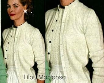 Cardigan Pattern Sweater Pattern Coat Pattern Vintage 50s Pattern KNITTING PATTERN Top Pattern
