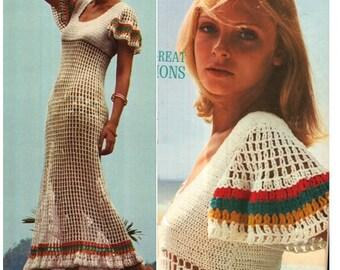 CROCHET DRESS PATTERN Vintage 70s Crochet Maxi Dress Crochet Panties Pattern Crochet undies pattern Crochet long dress boho dress maxi dress