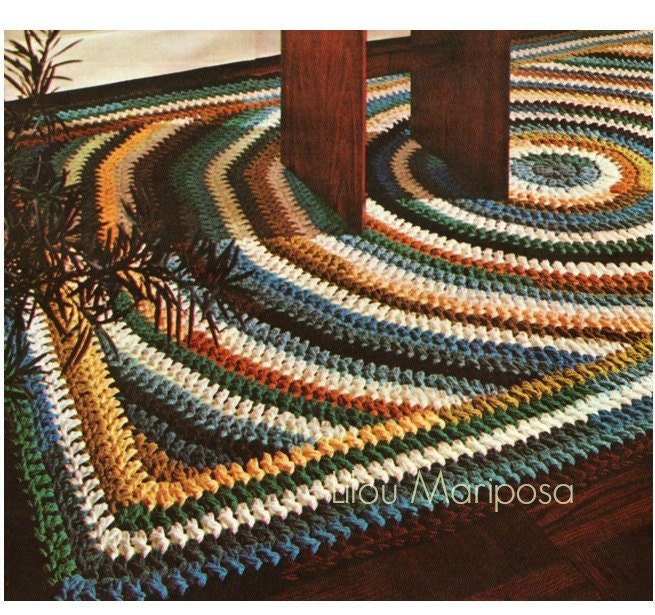 Crochet Pattern Vintage 70s Crochet Rug Pattern Mat Scatter