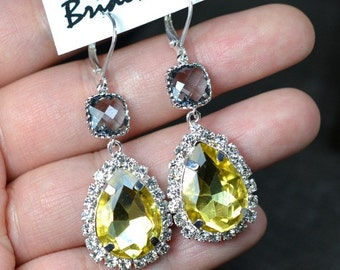 Yellow gray earrings , yellow gray gold Earrings,yellow  Earring, charcoal gray Wedding Earring,Drop,Dangle Earrings,gray bridesmaid gifts