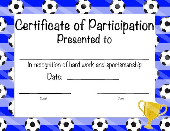 photograph relating to Printable Soccer Certificate named Printable Football Participation Certification