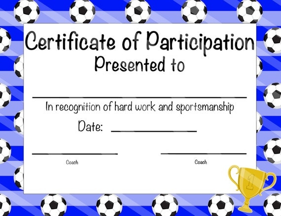 graphic regarding Printable Soccer Certificates named Printable Football Participation Certification