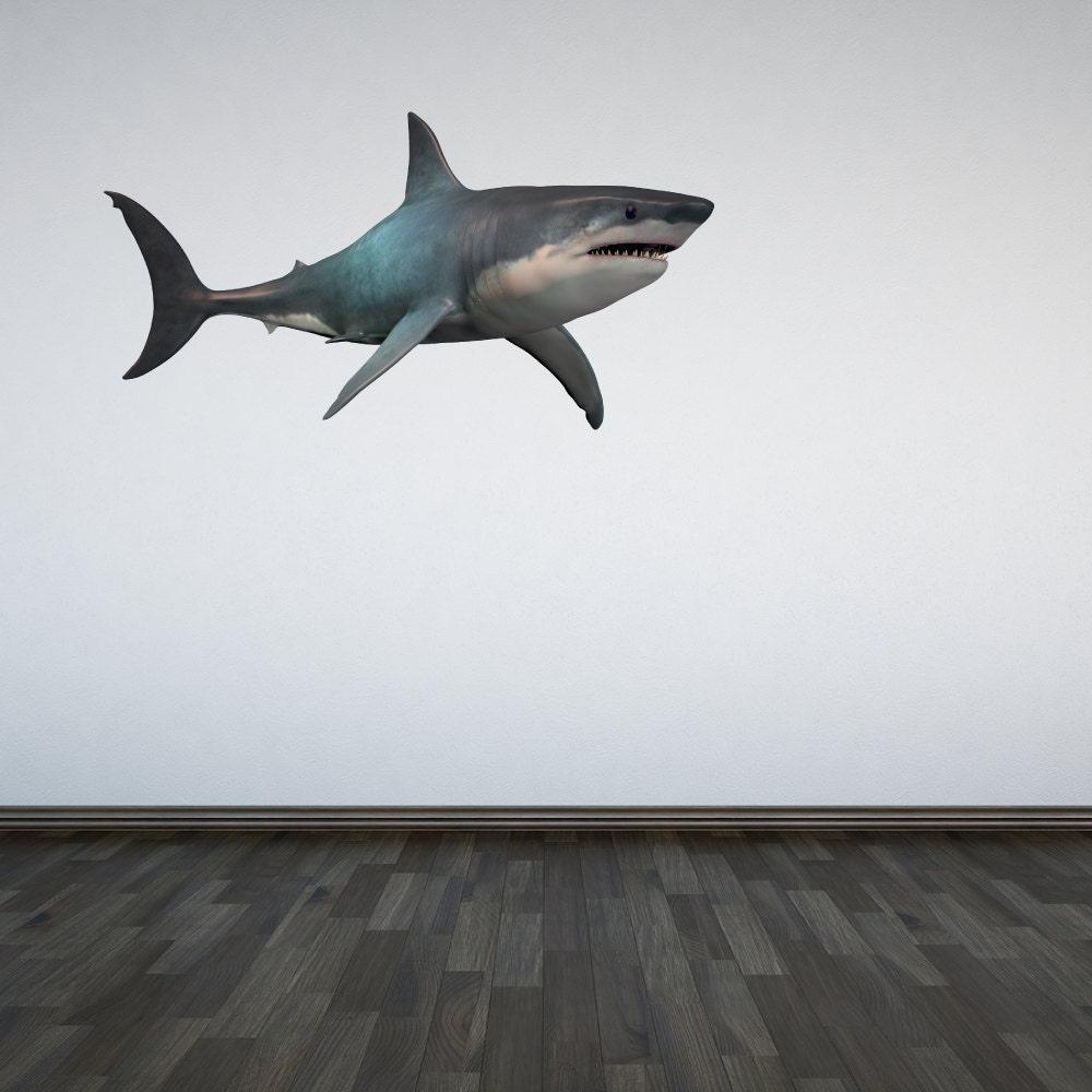 shark wall decal ocean under the sea sticker mural boys. Black Bedroom Furniture Sets. Home Design Ideas