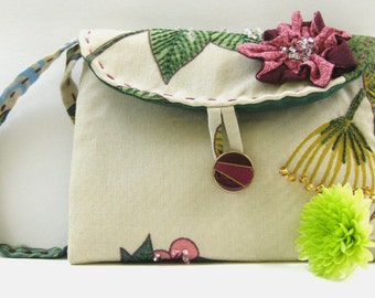 Hand Embroidered and Beaded Small Clutch #34