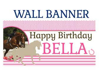 Horse Party Birthday Banner  ~ Pony Birthday Personalize Party Banners, Photo Birthday Banner, Pink Horse Banner,