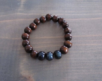 Wood & Ceramic Bead Bracelet