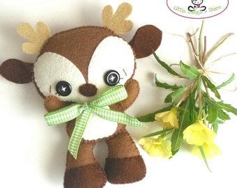 Brown Deer PDF pattern-Woodland animals toy-DIY-Nursery decor-Instant download-Baby's mobile toy-Cute deer-Felt deer ornament