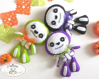 Sweet Skeleton PDF pattern-Halloween Ornament-Felt Halloween Ornament-DIY-Day of the Dead ornament-Instant download-Cute Skeleton toy