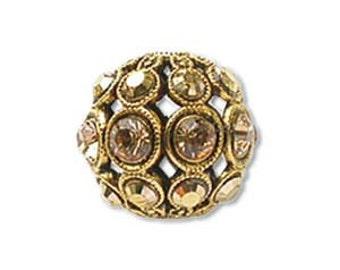 SWAROVSKI Encrusted 13mm Filigree Ball - Antique Gold / Light Colorado Topaz/ Dorado