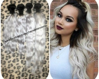 1b 613 black dark root into platinum blonde hair extensions balayage dip dye 8a remy ombre balayage human hair extensions full head weft weave bundles 1b pmusecretfo Image collections
