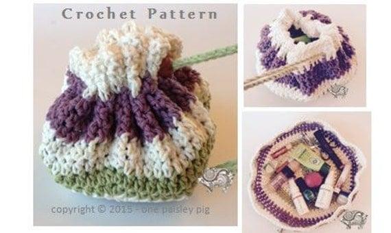Crochet Grab Bag Pattern : Easiest Grab & Go Make Up Bag Instant Download CROCHET