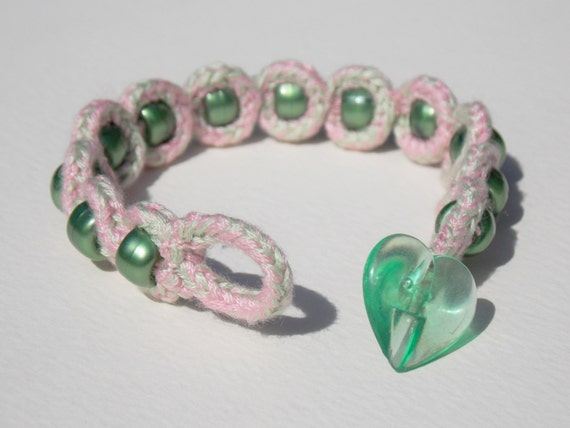 Pink And Green Embroidery Thread Lucet Bracelet By