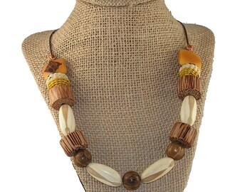 Wood, Nut, and Iraca Fiber Necklace