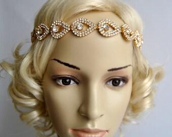 Gold Crystal Teardrop Rhinestone Tie on Headband headpiece, teardrop Headband, Wedding ribbon headband, Bridal rhinestone head piece, prom