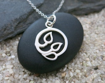 Silver Leaves Necklace, Sterling Silver Pendant with Three Leaves, Nature Jewelry