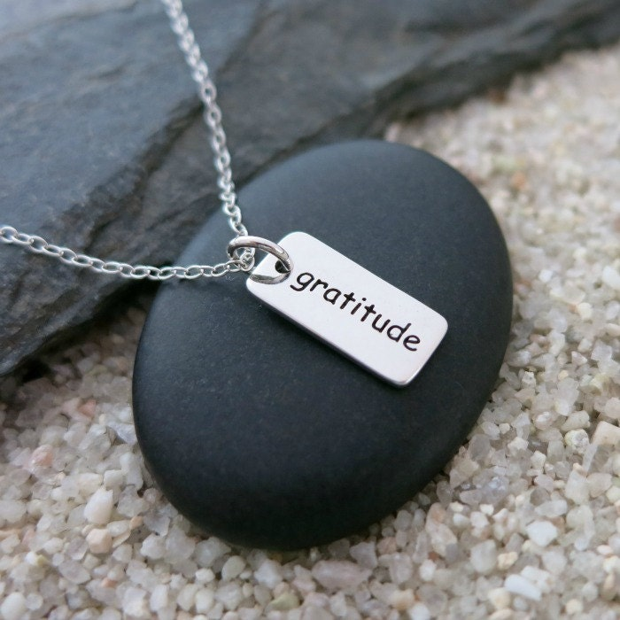 Gratitude necklace sterling silver word charm word jewelry for The universe conspires jewelry