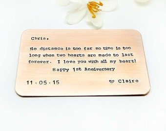 Personalized Wallet Insert Card - Customized personal messages-Gift for husband, boyfriend, father and friends-Father's Day thoughtful Gift