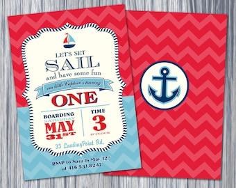 Nautical 1st Birthday Boy Chevron Invitation/Printable Invitation
