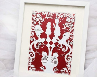 Alice in wonderland framed paper cut