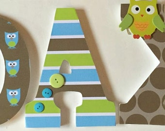 wall letters, boys wood letters, owl theme letters, baby nursery letters, personalized letters, decorative letters, custom letters for baby
