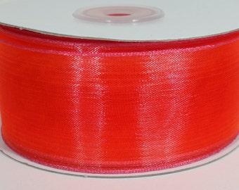 "1 1/2"" Two Toned Sheer Ribbon - Pink - 25 Yards"