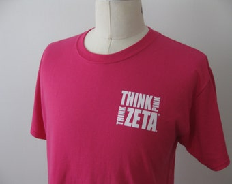 Zeta Tau Alpha Sorority Greek Shirt Think Pink Adult XL ZTA