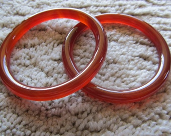 Set of 2 Red Orange Glass Bangles