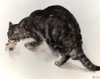 Playing Tabby cat - original watercolor painting (100 dollar cat)