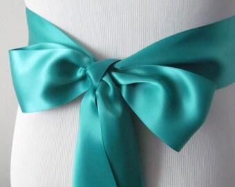 Jade Ribbon Sash / Double Faced Ribbon Sash / Bridal Sash / Bridal Ribbon / Jade
