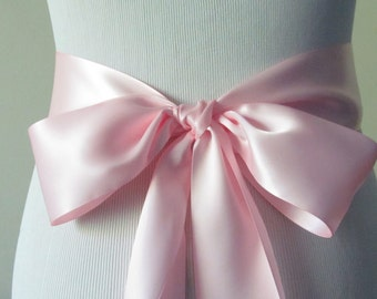 Pastel Pink Ribbon Sash / Double Faced Ribbon Sash / Bridal Sash / Bridal Ribbon / light pink
