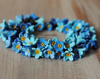 "Polymer clay flower ""forget me not"" bracelet"
