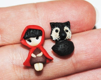 Polymer clay stud earrings - Red Riding Hood and Wolf