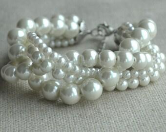 pearl bracelet,four strands pearl bracelet, twisted pearl bracelet,bridesmaids bracelet,glass pearls bracelet,wedding pearl bracelets