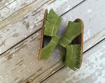 Moss Green leather mocc sandals