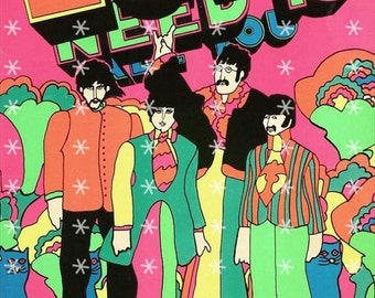 The Beatles Fabric Art Quilt Block BEAT139- FREE SHIPPING