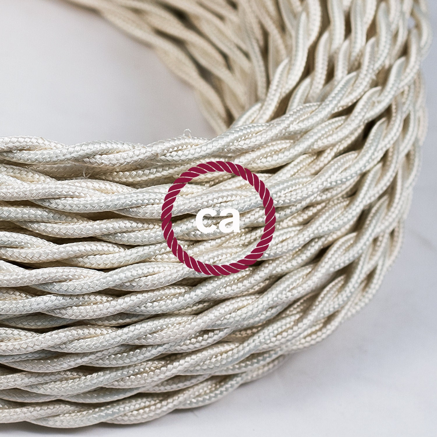 ivory twisted cloth covered wire vintage by ironlumberandlight