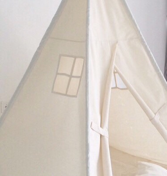 Small Size Children's Play Tent Teepee Handmade for Kids in Natural Canvas. Each Comes with Padded Mat Base and Two Pillows