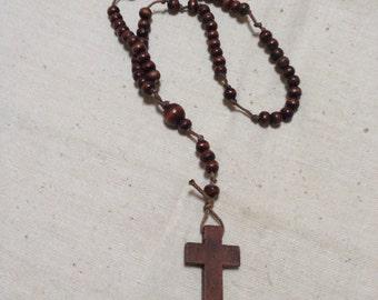 Beech wood cross and rosary beads