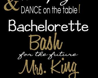 Time to Drink Champagne Bachelorette Gold Glitter Invitation