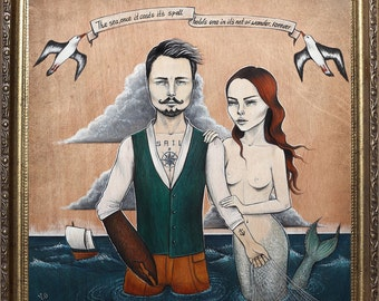 Sail away with me Pop Surrealism Lowbrow Giclee Art Print