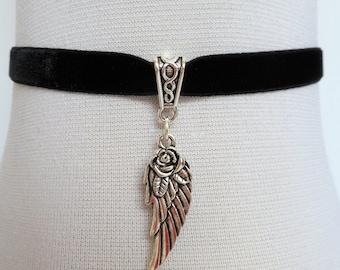 angel wing choker, black velvet choker, stretch ribbon