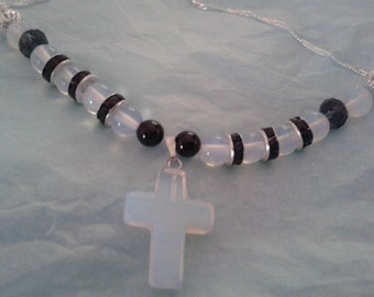 Opalite Cross with moonstone,onyx,and crystal beads on a Sterling Silver Chain