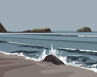 A3 LTD EDITION GICLEE. Scottish Coast Minimal contemporary archival art print, inspired modernist design - by Ian Mitchell