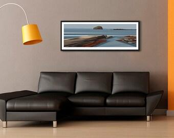 PANORAMIC Ltd Edition Print. Minimal contemporary archival art print of Bass Rock, Scotland  - by Ian Mitchell