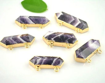 5pcs Nature Amethyst Stone Pendant, Gold plated Edge Druzy Drusy Gemstone Pendant For Jewelry Making
